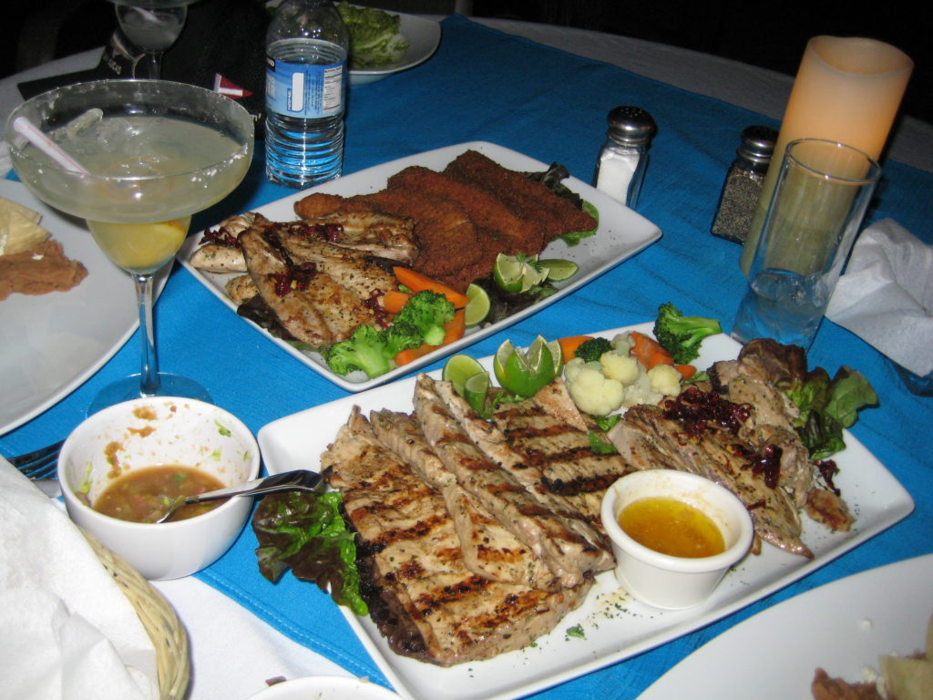 seared tuna, grilled tuna and fried tuna platter