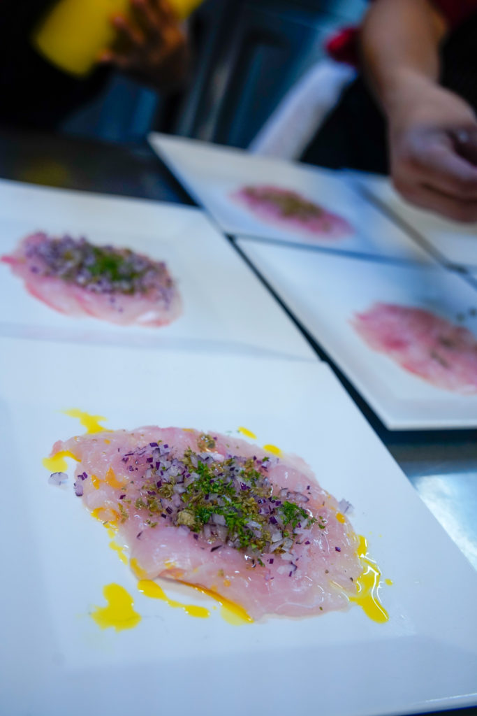 Chef Cosmos Goss raw fish dish