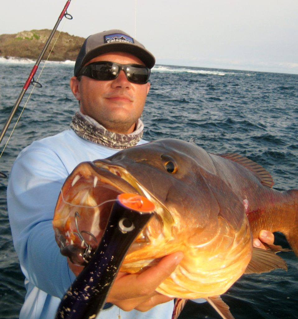Nice cubera snapper caught on a popper.
