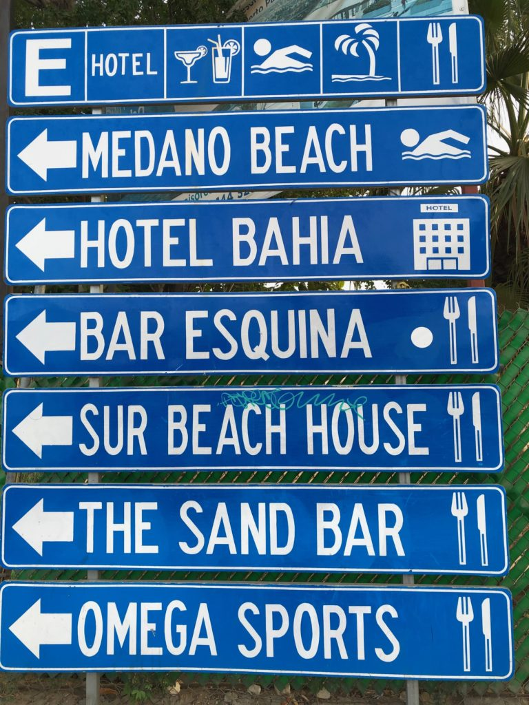 Attraction sign in Cabo San Lucas Mexico.