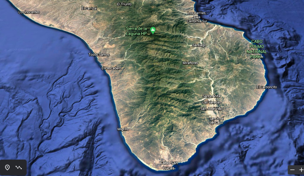 Regional view of Cabo San Lucas and southern Baja California