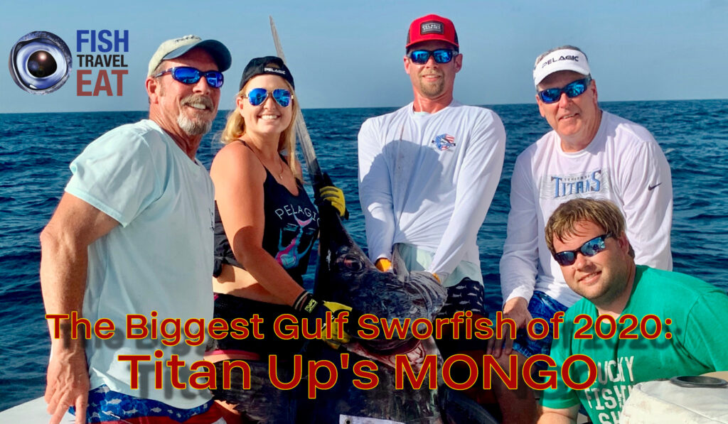Crew of the Titan Up with their winning swordfish